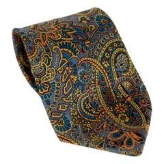 1980s Gucci Tie Silk Paisley Vintage Blue Brown