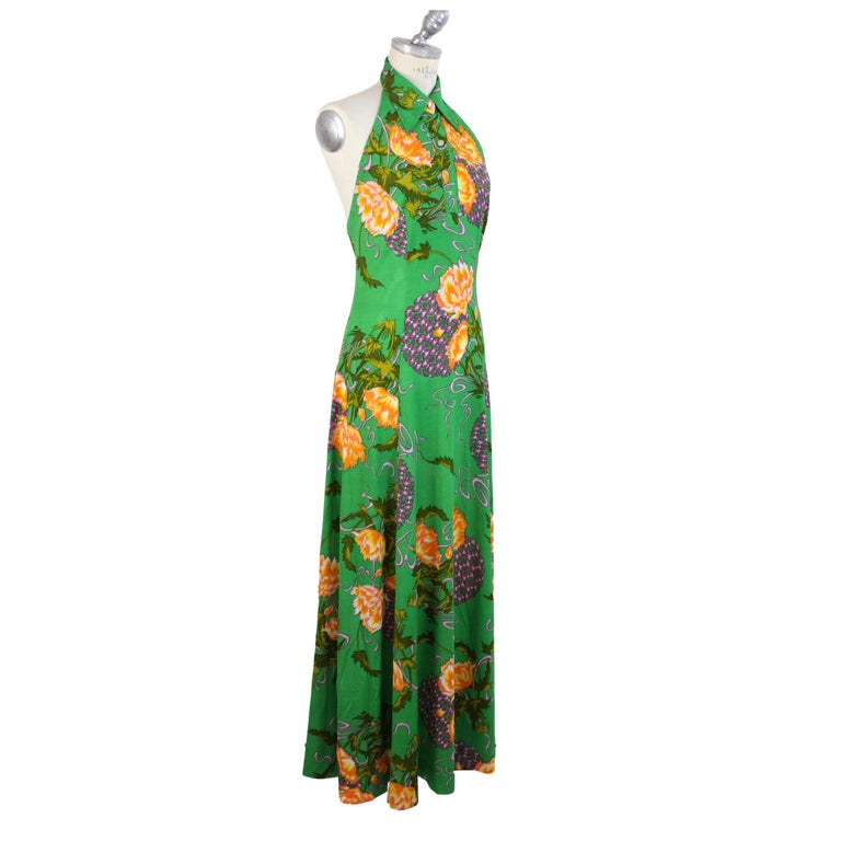 Women's 1980s Artisanal Long Cocktail Dress Floral Vintage Green For Sale