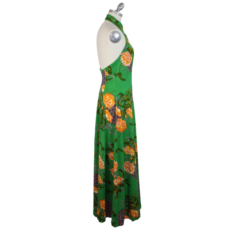 1980s Artisanal Long Cocktail Dress Floral Vintage Green In Excellent Condition For Sale In Brindisi, Bt