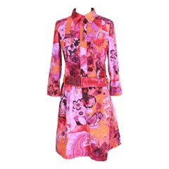 1990s Etro Pink Cotton Floral Paisley Dress
