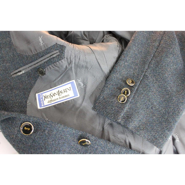 c1ae616ee63 1990s Yves Saint Laurent Blue Tweed Wool Jacket For Sale at 1stdibs