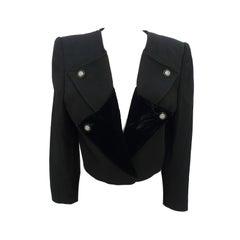 1990s Valentino Wool Velvet Black Bolero Jacket