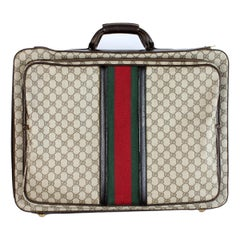 1980s Gucci Monogram Beige Leather Suitcase Luggage Bag