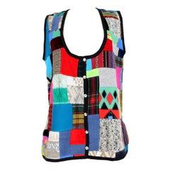 1990s Fendi Multicolor Patchwork Wool Waistcoat