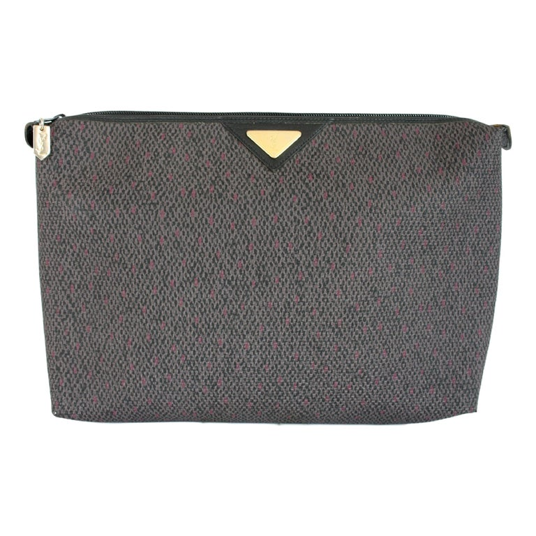 8bce13cc0d 1990s Yves Saint Laurent Blue Canvas Leather Clutch Evening Bag For Sale at  1stdibs