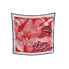 1990s Valentino Red White Silk Geometric Print Scarves Foulard