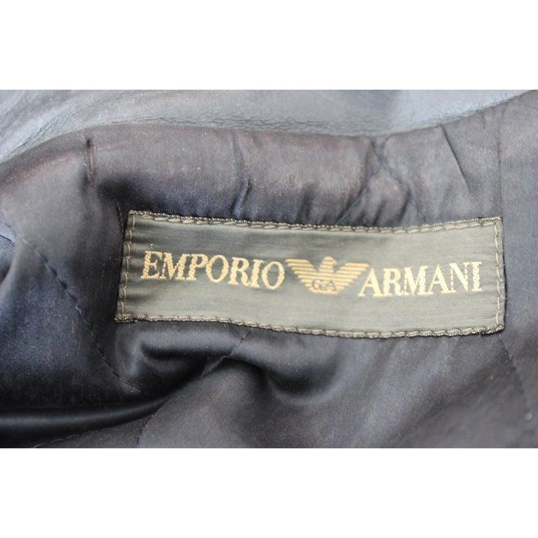 Giorgio Armani Biker Leather Vintage Jacket Black Chiodo, 1980s For Sale 3