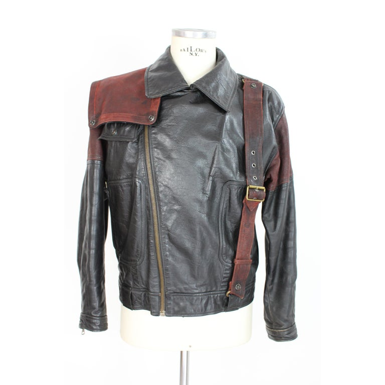 Giorgio Armani Biker Leather Vintage Jacket Black Chiodo, 1980s In Good Condition For Sale In Brindisi, Bt