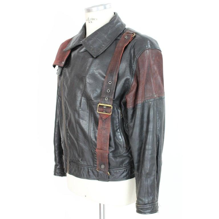 Men's Giorgio Armani Biker Leather Vintage Jacket Black Chiodo, 1980s For Sale