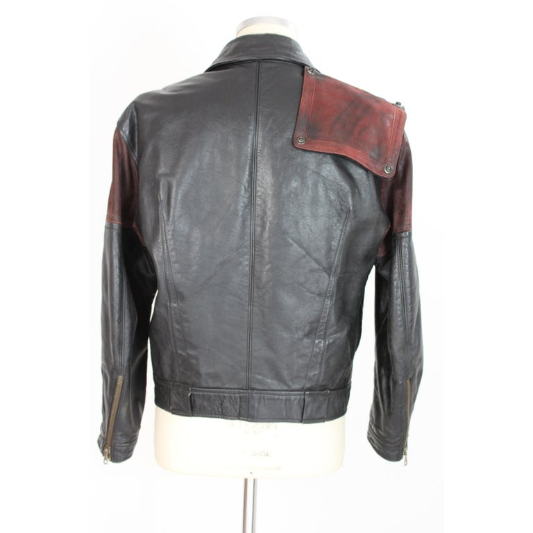Giorgio Armani Biker Leather Vintage Jacket Black Chiodo, 1980s For Sale 1