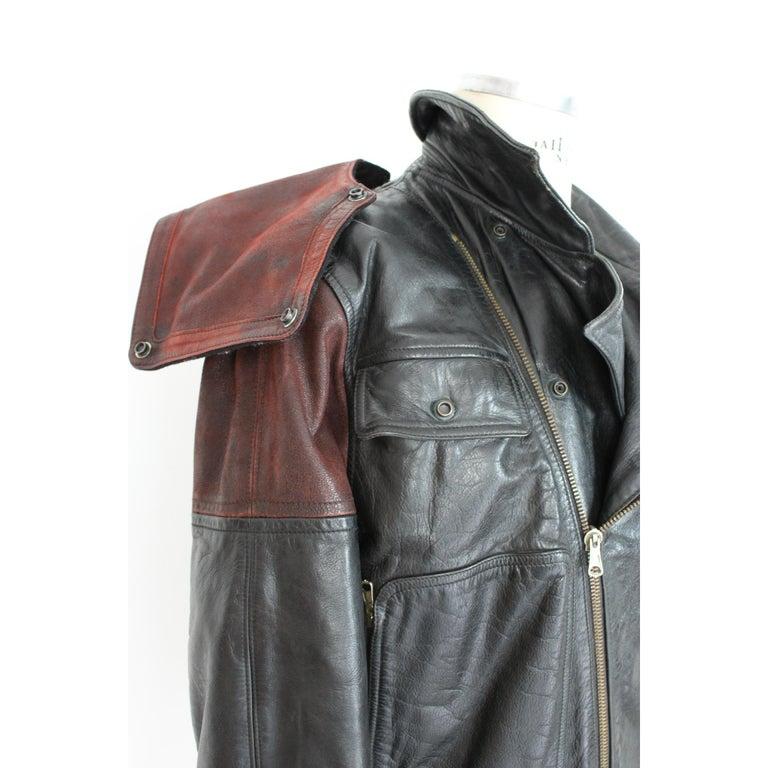 Giorgio Armani Biker Leather Vintage Jacket Black Chiodo, 1980s For Sale 2