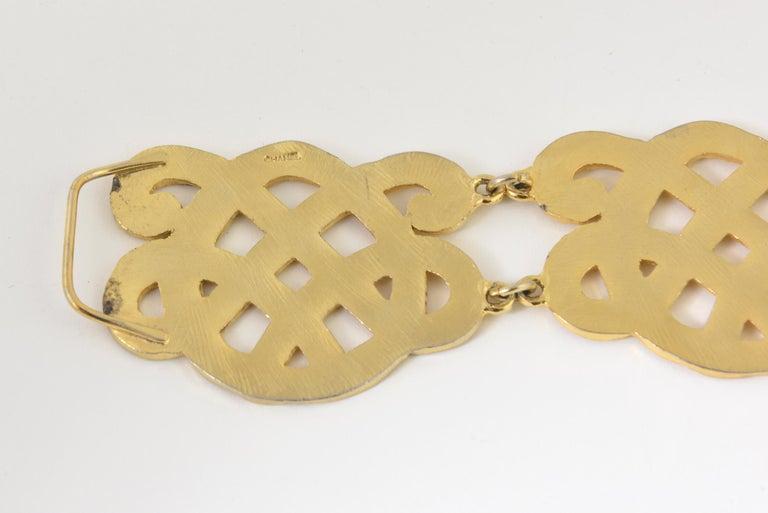 Women's or Men's Chanel Wide Gold Plated Arabesque Style Medallion Belt For Sale