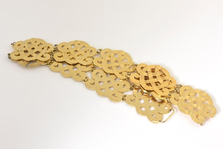 Chanel Wide Gold Plated Arabesque Style Medallion Belt For Sale 3
