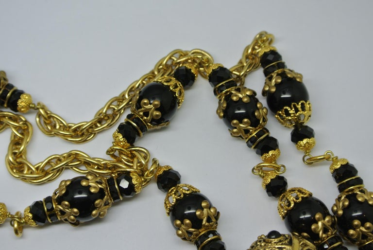 Artisan Chanel Gripoix Poured Glass Black Beaded Filigree Chain Necklace For Sale