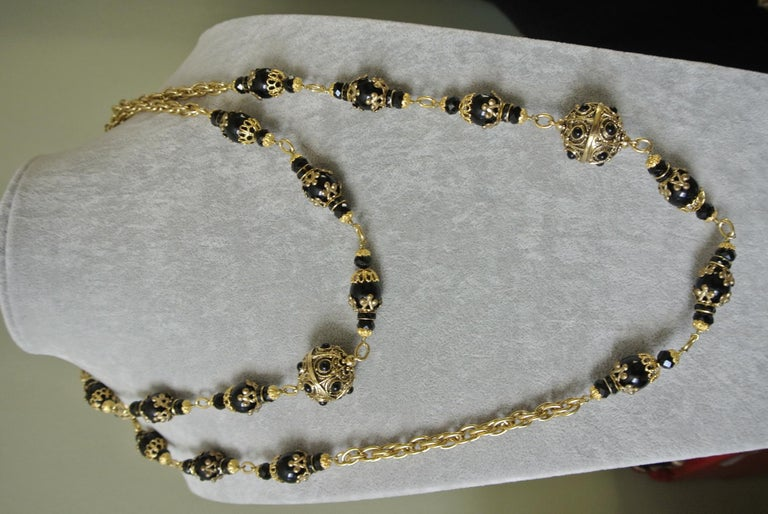 Chanel Gripoix Poured Glass Black Beaded Filigree Chain Necklace For Sale 2