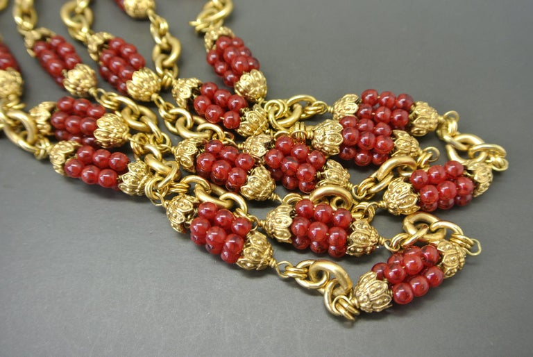 Artist Chanel 1960s by Goossens Red Gripoix Beads Filigree Sautoir Necklace For Sale