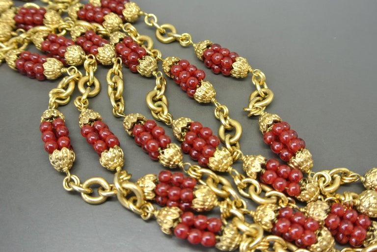 Chanel 1960s by Goossens Red Gripoix Beads Filigree Sautoir Necklace In Excellent Condition For Sale In London, GB