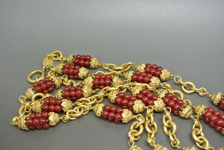 Women's or Men's Chanel 1960s by Goossens Red Gripoix Beads Filigree Sautoir Necklace For Sale