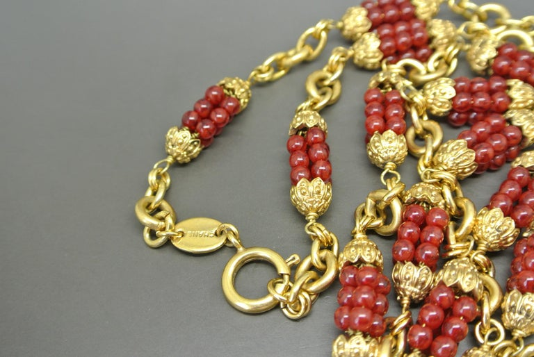 Chanel 1960s by Goossens Red Gripoix Beads Filigree Sautoir Necklace For Sale 1