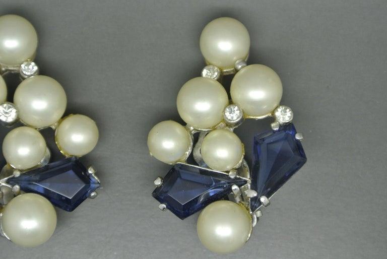Artist Schiaparelli 1950s blue glass faux pearl gold-tone earrings For Sale