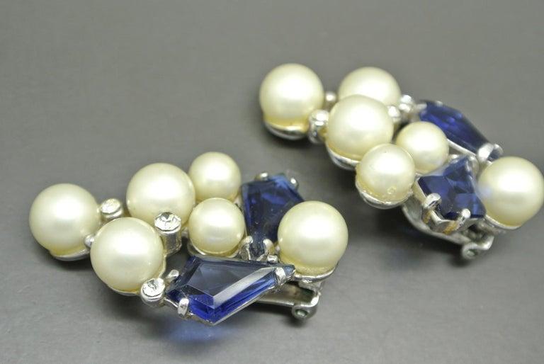 Women's or Men's Schiaparelli 1950s blue glass faux pearl gold-tone earrings For Sale