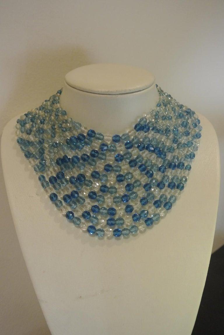 Coppola e Toppo blue glass beaded multi-strand couture necklace For Sale 2