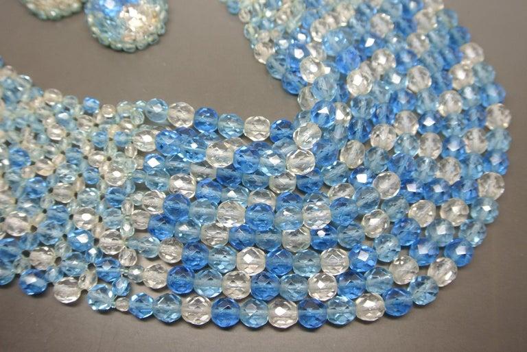 Artist Coppola e Toppo blue glass beaded multi-strand couture necklace For Sale