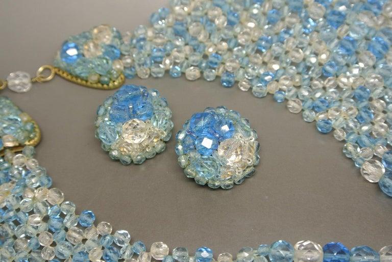 Coppola e Toppo blue glass beaded multi-strand couture necklace In Fair Condition For Sale In London, GB