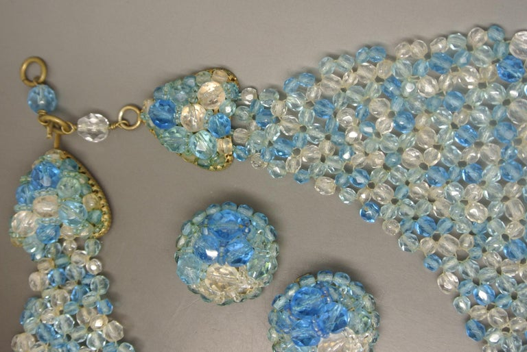 Women's or Men's Coppola e Toppo blue glass beaded multi-strand couture necklace For Sale