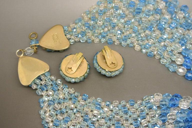Coppola e Toppo blue glass beaded multi-strand couture necklace For Sale 1