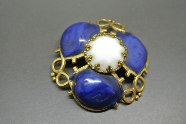 Artist Gripoix Made in France lapis Blue Poured Glass abstract Brooch For Sale
