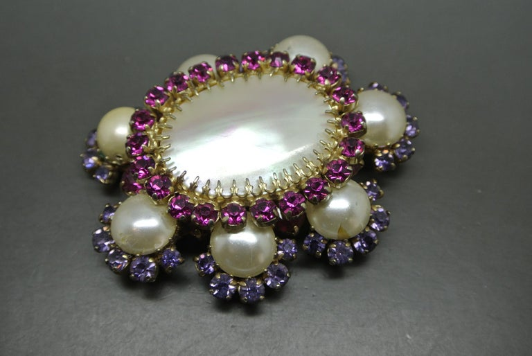 Artist Countess Cissy Zoltowska Cis Pink Crystal Large mother of pearl Brooch For Sale