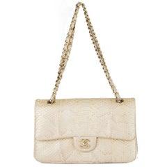 Chanel metallic light gold PYTHON TIMELESS CLASSIC FLAP MEDIUM Shoulder Bag