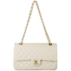 Chanel off-white quilted leather TIMELESS CLASSIC FLAP MEDIUM Shoulder Bag
