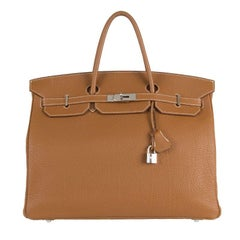 HERMES Gold camel Fjord leather BIRKIN 40 Bag