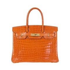 HERMES orange SHINY POROSUS CROCODILE leather BIRKIN 30 Bag