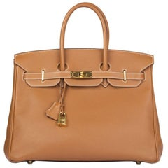 HERMES Gold camel Swift leather BIRKIN 35 Bag