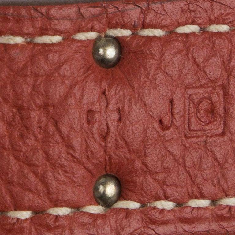 HERMES Sanguine red Togo leather & Palladium BIRKIN 35 Bag 2