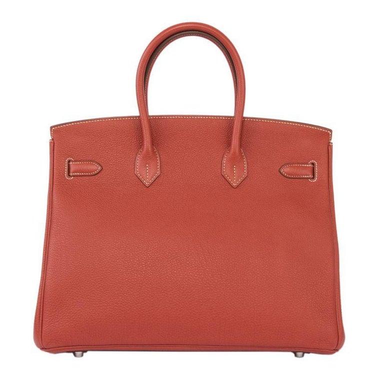 Red HERMES Sanguine red Togo leather & Palladium BIRKIN 35 Bag