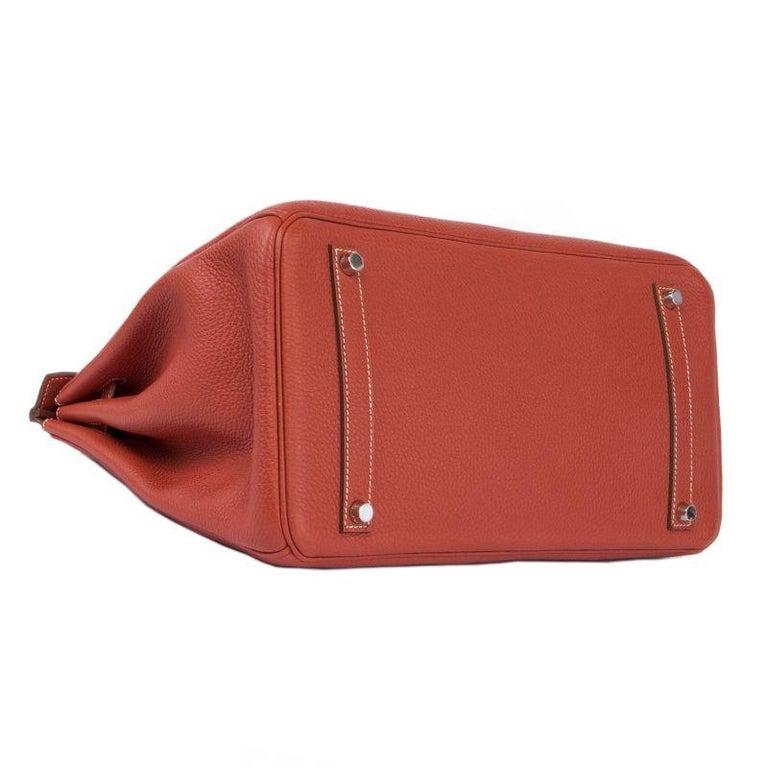 HERMES Sanguine red Togo leather & Palladium BIRKIN 35 Bag In New Condition In Zürich, CH