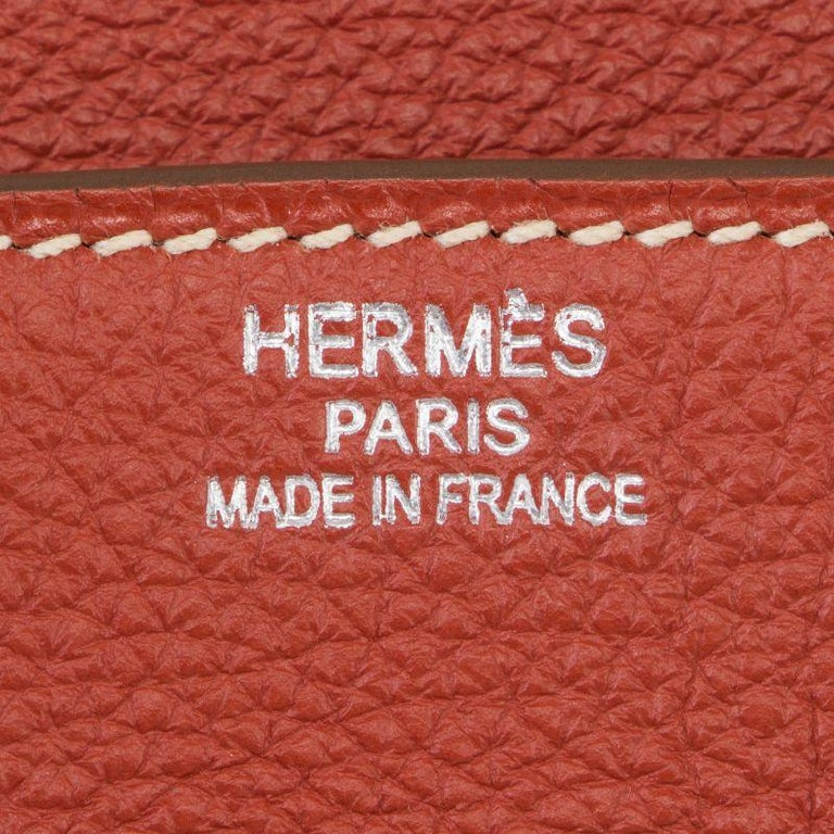 Women's HERMES Sanguine red Togo leather & Palladium BIRKIN 35 Bag