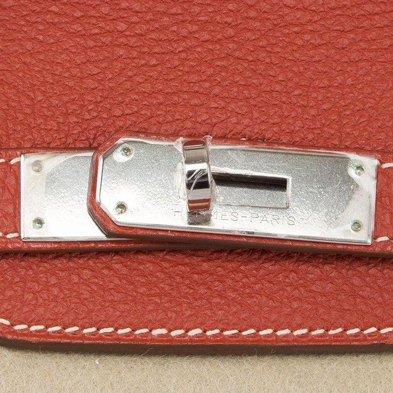 HERMES Sanguine red Togo leather & Palladium BIRKIN 35 Bag 1