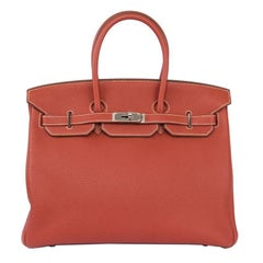 HERMES Sanguine red Togo leather & Palladium BIRKIN 35 Bag