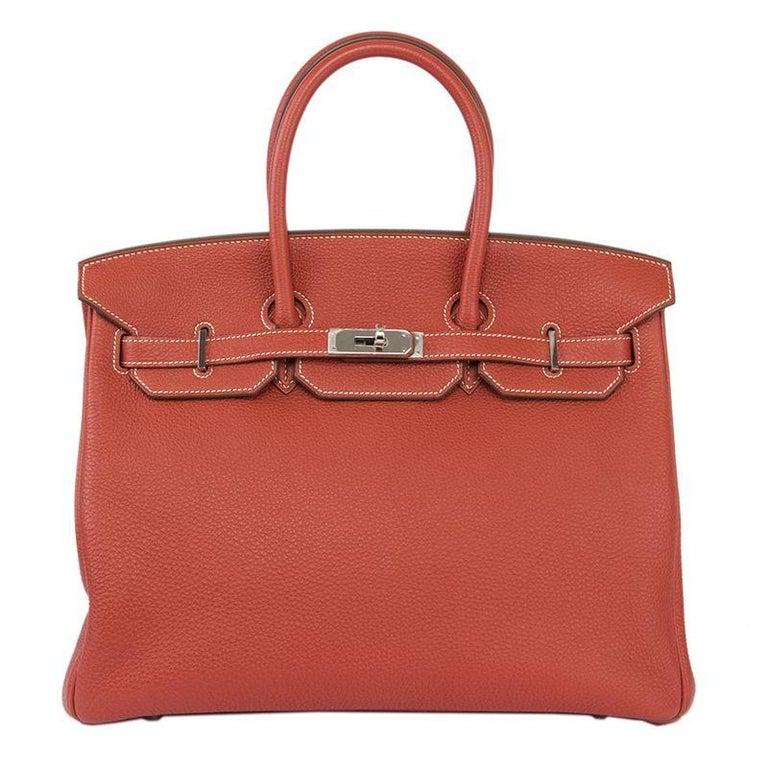 HERMES Sanguine red Togo leather & Palladium BIRKIN 35 Bag