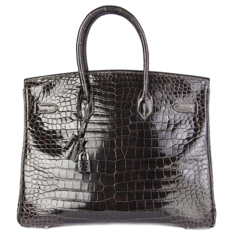 fca63999b115 HERMES Graphite grey SHINY POROSUS CROCODILE and Palladium BIRKIN 35 Bag  For Sale at 1stdibs