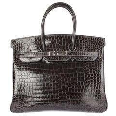 HERMES Graphite grey SHINY POROSUS CROCODILE & Palladium BIRKIN 35 Bag