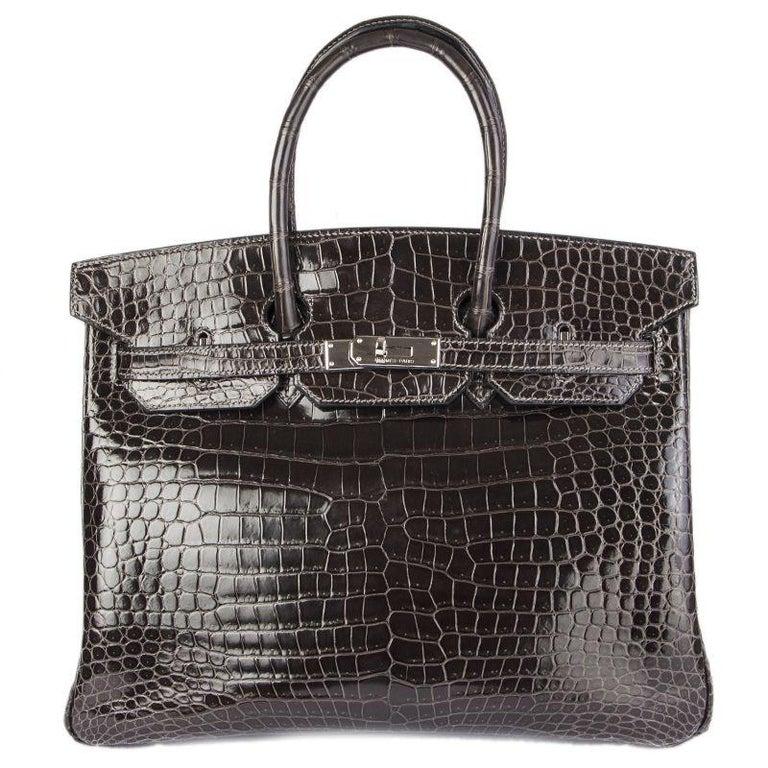 5b2119efa879 HERMES Graphite grey SHINY POROSUS CROCODILE   Palladium BIRKIN 35 Bag For  Sale