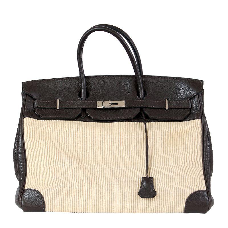HERMES Chocolate Togo leather & Crinolin & Palladium BIRKIN 40 Bag