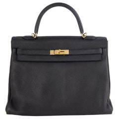 HERMES Plomb black Clemence leather & Gold KELLY 35 RETOURNER Bag