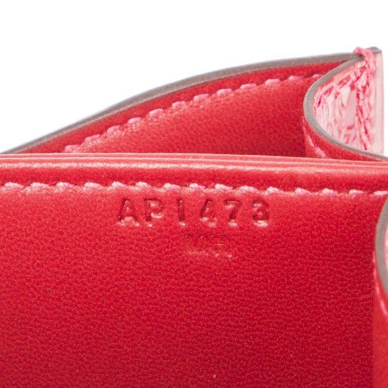 HERMES Braise red Shiny Alligator CONSTANCE 18 Shoulder Bag For Sale 4